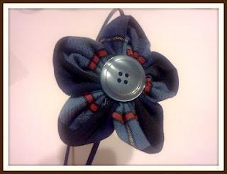School Uniform into a Flower Headband and Hairclip - Kanzashi style fold
