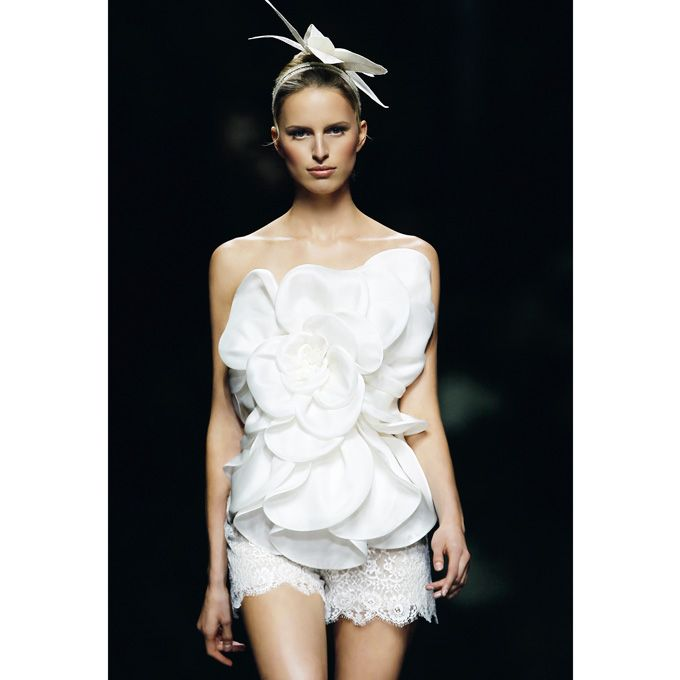 Brides: Manuel Mota - Spring 2013. Strapless silk floral top and lace shorts, Manuel Mota