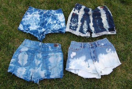 bleached denim: Shorts Jeans, Bleach Shorts, Ties Dyes Shorts, Indigo Dyes, Diy'S Clothing Dyes Denim, Bleach Ties Dyes Diy'S, Jeans Shorts, Bleach Jeans, Bleach Denim