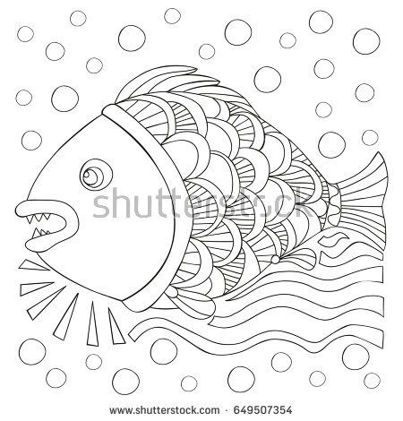 Fish in the water. Coloring book page for adults and child - zendala, design for relax and meditation, vector illustration isolated on white background.