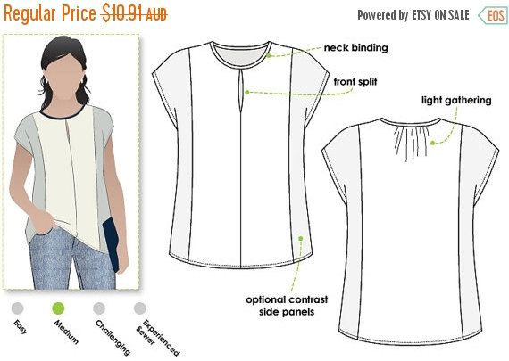 ON SALE Sian Combo Top - Sizes 10, 12, 14 - Knit or Woven Top PDF Sewing Pattern by Style Arc - Sewing Project - Digital Pattern