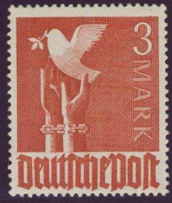 """Germany, Joint Issue, Alliierte Besetzung 1947, Friedenstaube, 3 Mk. """"ohne Wasserzeichen"""", postfrisch Pracht, gepr. Schlegel BPP (postfr., Mi.-Nr.961 Z/Mi.EUR 240,--). Price Estimate (8/2016): 70 EUR."""