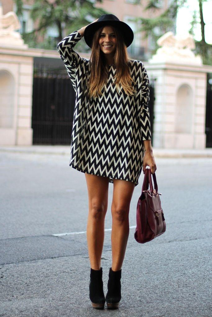 white black short summer dress for women black hat violet handbag heels street outfit