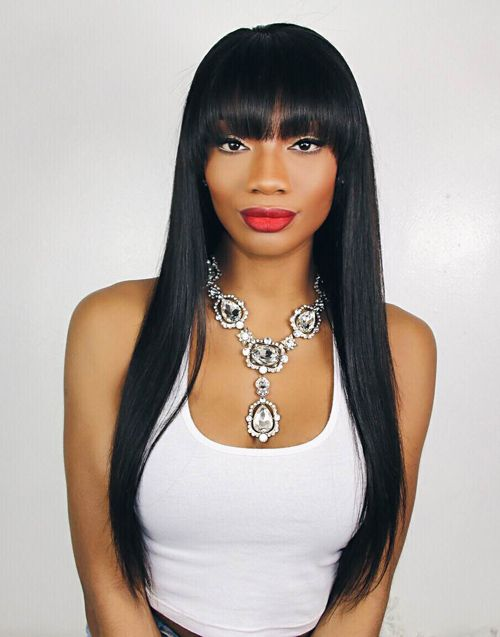 The 25 best wigs with bangs ideas on pinterest bob hairstyles olivia malaysian human hair straight wig with bangs mfs001 pmusecretfo Gallery