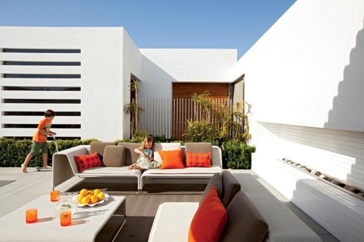 Sleek MaterialsHouse Tours, Modern Living, Living Spaces, Outdoor Living Room, California Home, California Living, Contemporary Living, Rooftops Patios, Design Style
