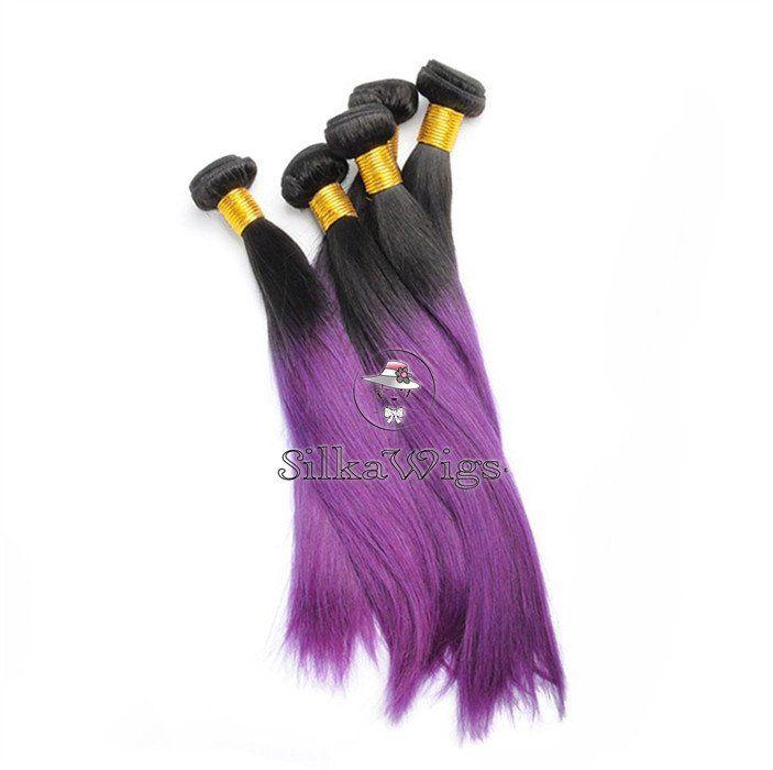 Ombre 1B/Purple 100% Brazilian Human Hair Weave