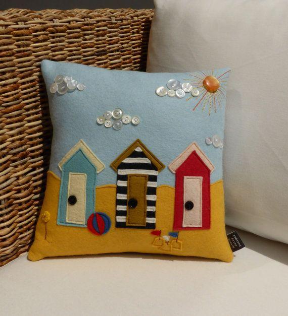 Beach Hut Cushion  100% pure wool felt and by LovelyJellyDesigns
