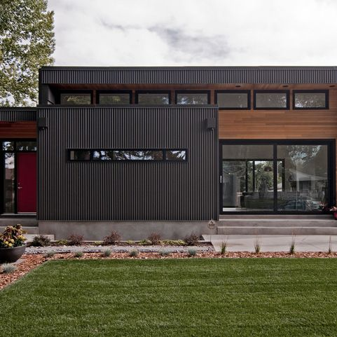 Corrugated Galvanized Steel Siding Walnut Home Design Ideas, Pictures, Remodel and Decor