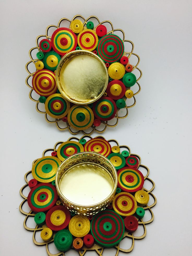Quilled candle holder Quilled Diya Christmas theme