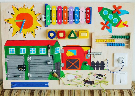 Busy Board Farm Activity-Board sensorische von Woodledoodleshop