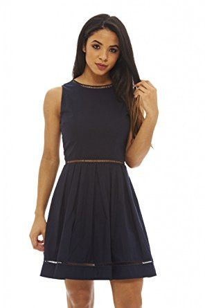 Navy Sleeveless Zip Back Sleeveless Skater Dress