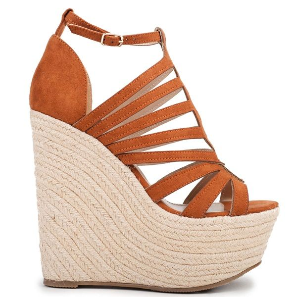 Camel multistrap platform with rope wedge and suede texture. Fastens with adjustable ankle strap.