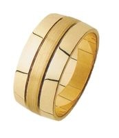 WEDDING BAND 8mm WIDE WITH A GRAIN FINISH CENTRE SECTION AND POLISHED OUTSIDE SECTIONS