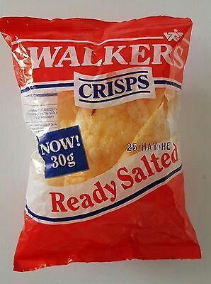 Original Pack of Walkers Ready Salted crisps complete with contents! circa 1985