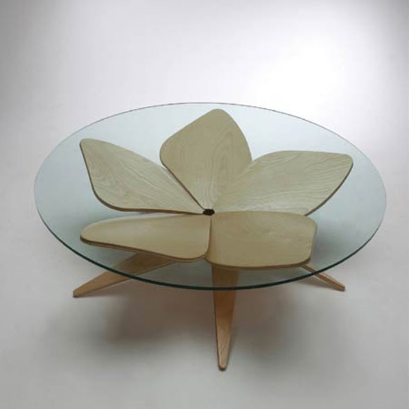 U0027Hana Tableu0027 By Shige Hasegawa   Inspired By Origami, Built Of Five Flower Shaped  Plywood Pieces Forming A Collective Stand On A Glass Table Without Using ... Awesome Design
