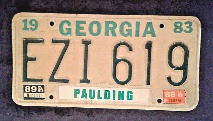 1983 vintage green license plate ezi 619 ga state
