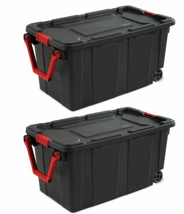 Wheeled Tote Plastic Storage Container Box 40 Gal 2 Pack Organizer With Lid Bin Plastic Container Storage Sterilite Plastic Storage Bins