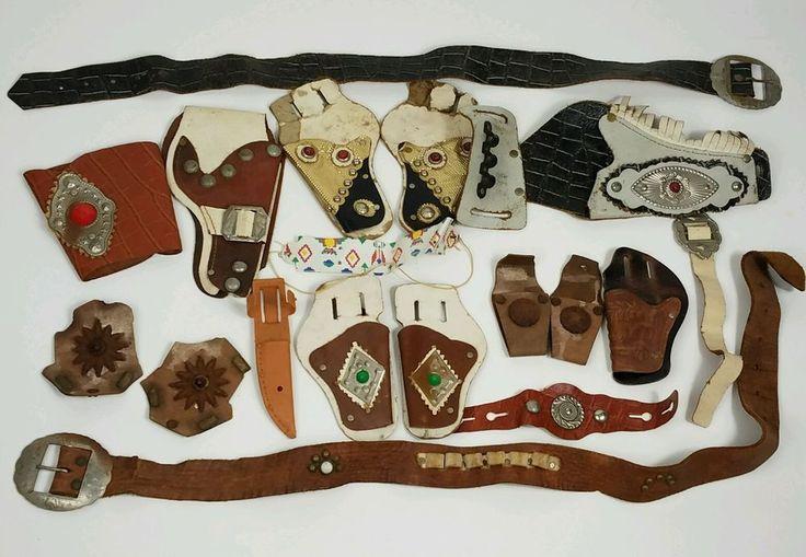 vintage and antique cap gun holsters lot plus misc cowboy indian dress up parts