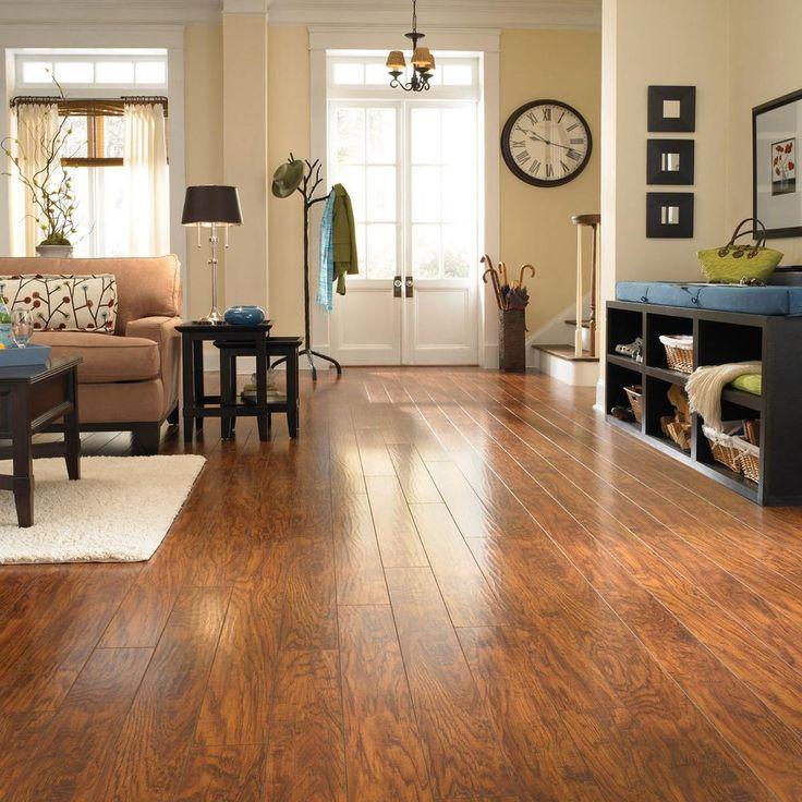 Pergo xp highland hickory laminate flooring 13 1 sq ft for Square laminate flooring