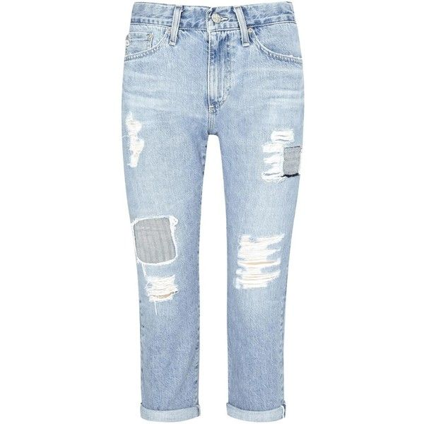 AG Jeans The Drew light blue boyfriend jeans (£255) ❤ liked on Polyvore featuring jeans, ripped boyfriend jeans, destroyed jeans, blue ripped jeans, ripped jeans and boyfriend jeans