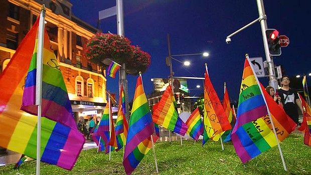 Protest flags planted at Taylor Square to lament the removal of the rainbow coloured pedestrian crossing. #sydneymardigras