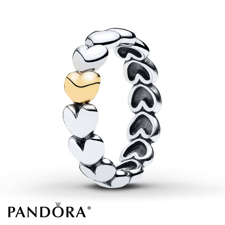 pandora silver and gold large heart ring 190898 - Pandora Valentines Day Ring