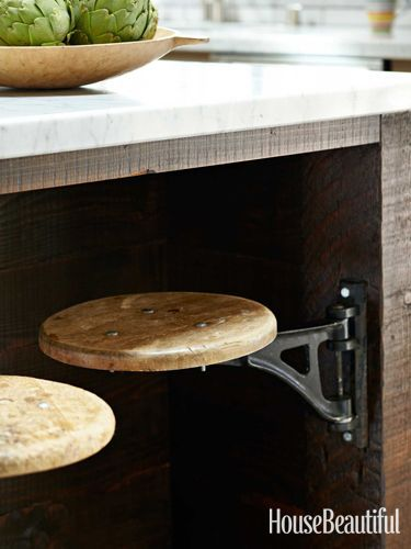 Steel Kitchen Design - Industrial Kitchen Design Ideas - House Beautiful // swing out island seats!