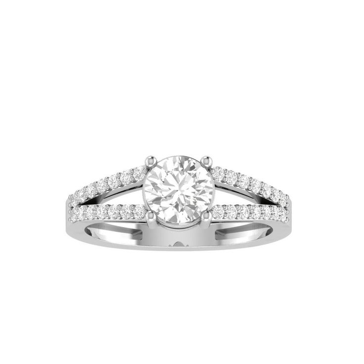 1.99 Ct Soliatire With Accents Engagement Ring 10K White Gold With Certificate #14kgolddiamondjewelry #SolitairewithAccents #Engagement