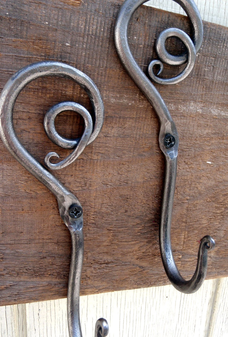 Blacksmith Hand Forged Spiral Swirl Decorative Coat Hooks, Wall Hooks- Rustic- wrought iron. $50.00, via Etsy.