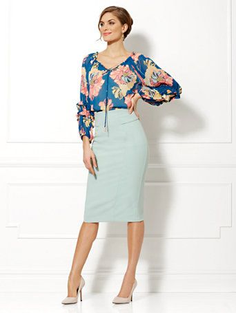 Shop Eva Mendes Collection - Paulina Floral Chiffon Blouse . Find your perfect size online at the best price at New York & Company.