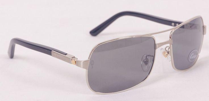 Солнцезащитные очки Cartier (Картье) SANTOS-DUMONT в металлической оправе серебристого цвета, в фирменной упаковке, с поляризованными стеклами (защита от бликов и УФ излучения) #20097