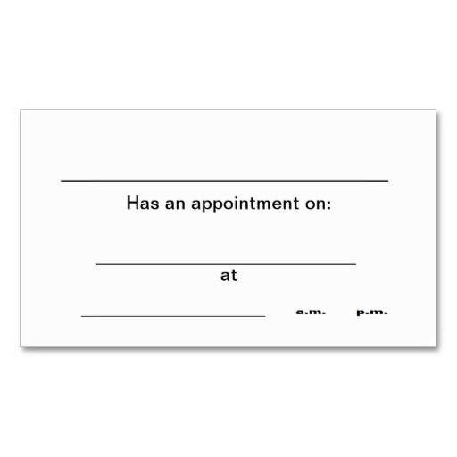 238 best Appointment Business Cards images on Pinterest Business - sample appointment card template