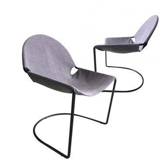 Chaise Moderne Grise En Tissu RAPHAEL 2 Lot De