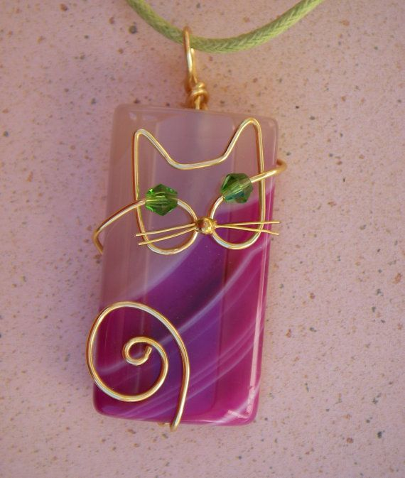 Wire Cat on Pink Agate Pendant