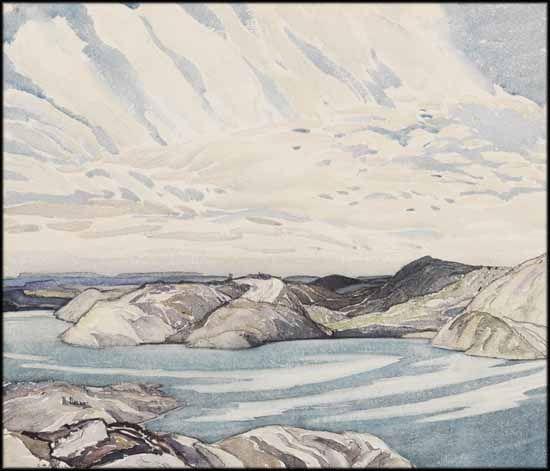 Franklin Carmichael - In the La Cloche Mountains 11 x 13 watercolour on paper.