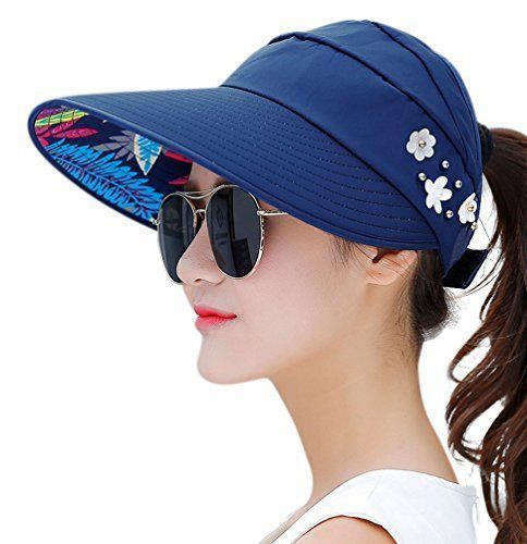 HindaWi Sun Hats for Women Hat Wide Brim UV Protection Summer Beach  Foldable  HindaWi 130581a55177