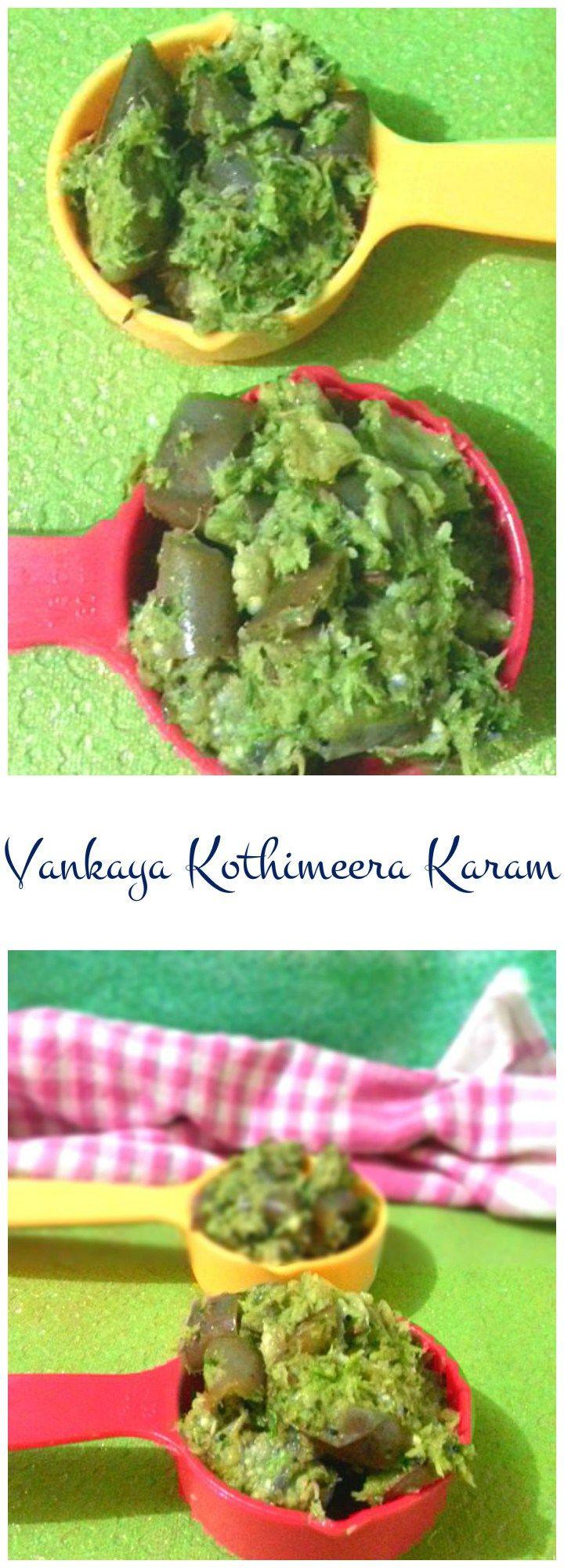 Brinjal Curry Andhra Style / Vankaya Kothimeera Karam – Tender violet brinjals cooked in typical Andhra Coriander Masala