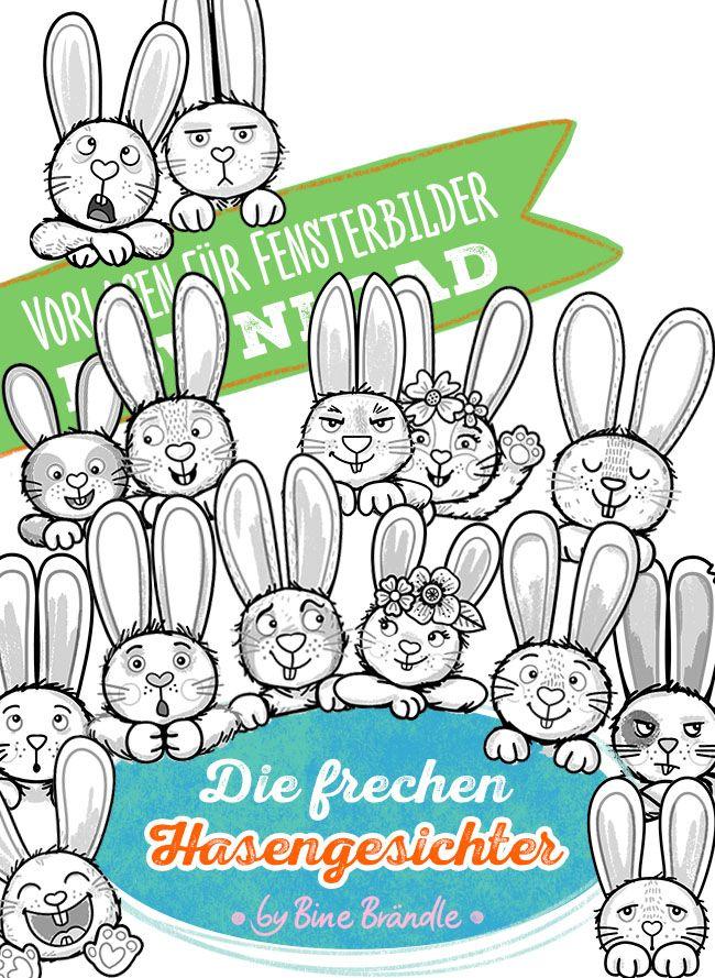 Die Frechen Hasengesichter Von Bine Brandle Vorlagen Bines Shop Com Hase Osterbasteleien Vorlagen