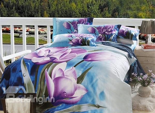 purple floral print blue bedding setcotton home textile comforter sets coverbed sheet sets for queen size bedchina mainland