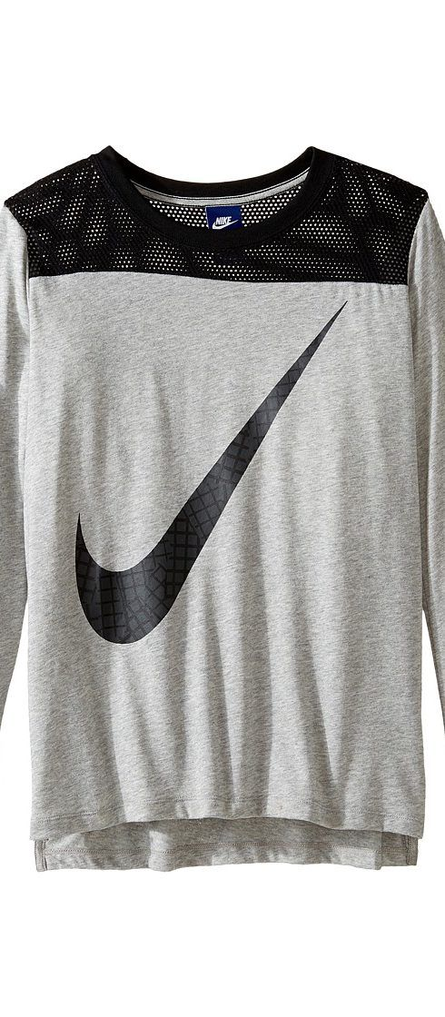 Nike Kids Sportswear Long Sleeve Graphic Top (Little Kids/Big Kids) (Dark Grey Heather/Black) Girl's Clothing - Nike Kids, Sportswear Long Sleeve Graphic Top (Little Kids/Big Kids), 830585-063, Apparel Top General, Top, Top, Apparel, Clothes Clothing, Gift, - Fashion Ideas To Inspire