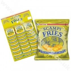 Smiths Scampi Flavour Fries. Entirely vegetarian (I've checked with Walkers who make them). Possibly the best snack in a packet.