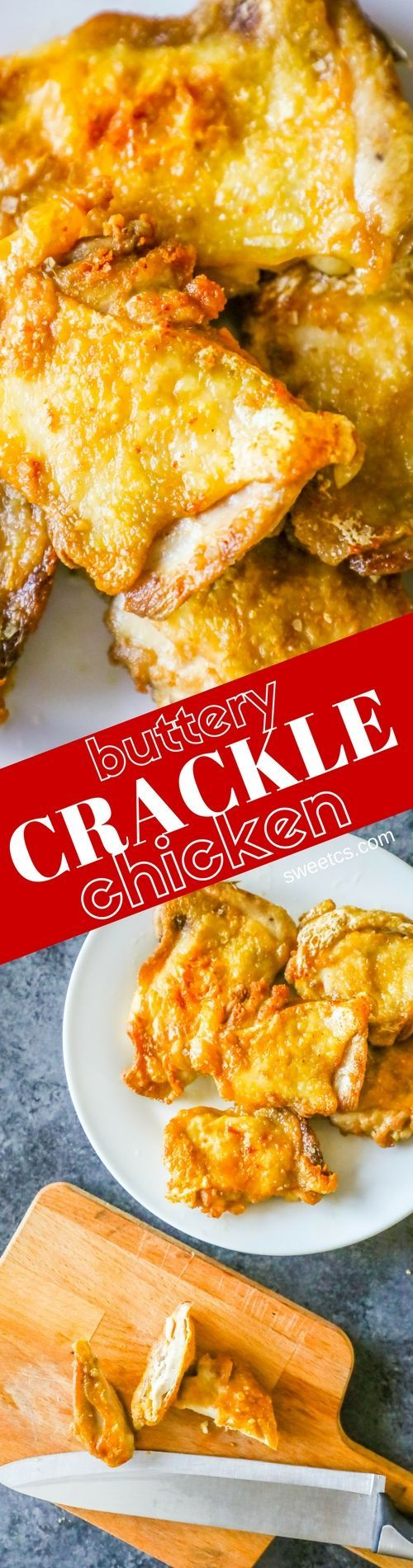 Buttery Crackle Chicken Thighs are the most delicious, juicy, and super crunchy-crackly chicken thighs you'll ever make! Simple ingredients and crazy easy!