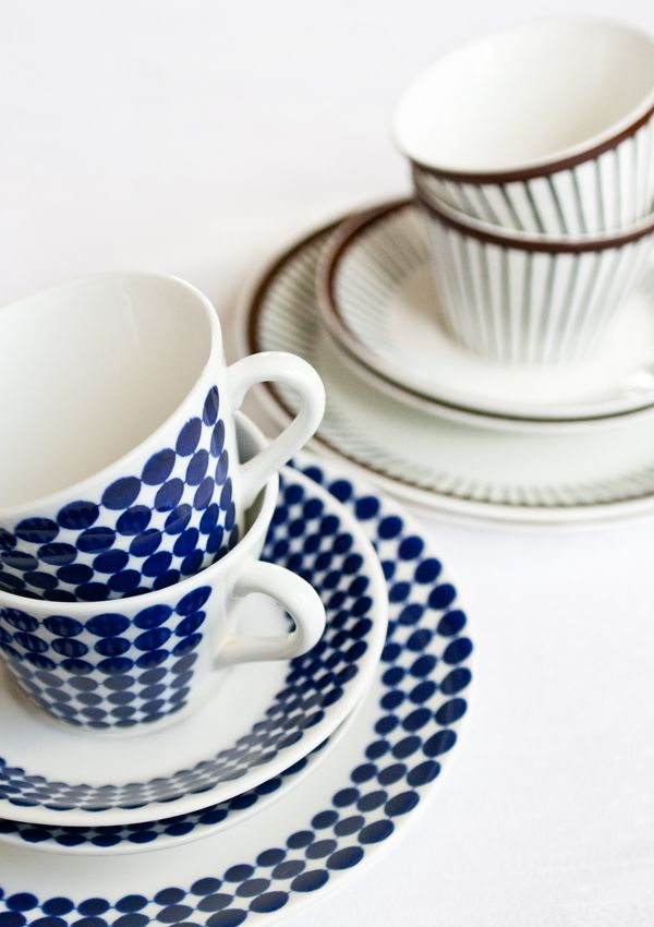 """My favourite coffee cups from Gustavsberg, Sweden. The blue is """"Adam"""" and the brown """"Spisa ribb""""."""