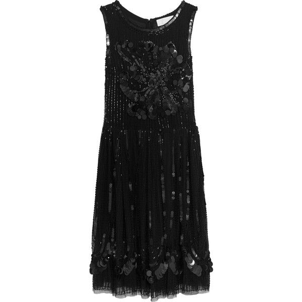 Mikael Aghal Embellished tulle dress (£242) ❤ liked on Polyvore featuring dresses, black, embellished dress, fitted cocktail dresses, loose fit dress, paillette dress and sequin embellished dress