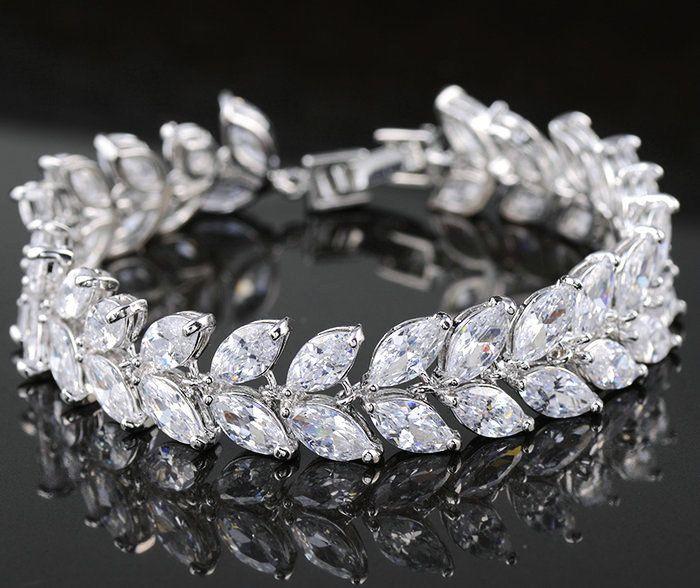 Cheap 2015 gioielli di lusso design unico aaa + swiss zircone forma di foglia vintage nozze sposa braccialetto