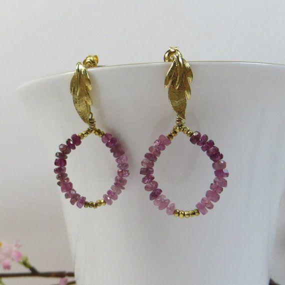 Pink Tourmaline Hoops Earrings  Pink Tourmaline by SLCDesignsUK