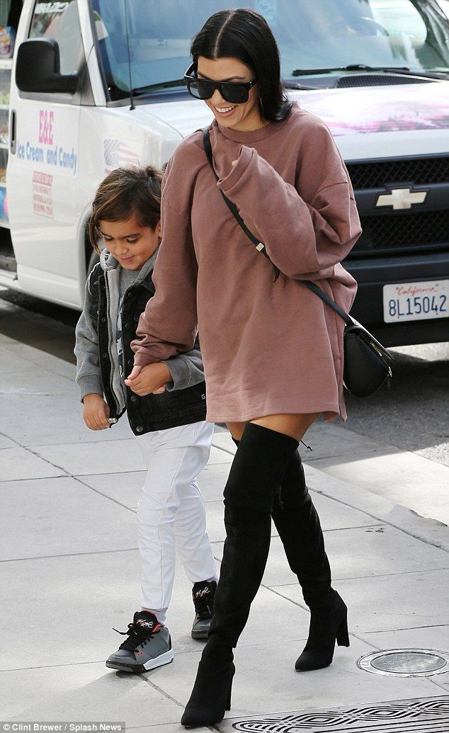 Retail therapy: Kourtney Kardashian, 36, and Mason Disick, five, enjoyed each other's company during a shopping trip in Beverly Hills on Monday