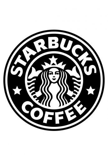 Pôster Logo Starbucks em Preto e Branco.