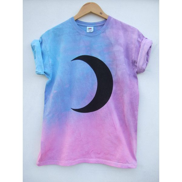 Maan fase Pastel paars roze Tie Dye Shirt maat Medium ($32) ❤ liked on Polyvore featuring tops, shirt top, patterned shirts, blue shirt, tye die shirts and blue tie dye shirts
