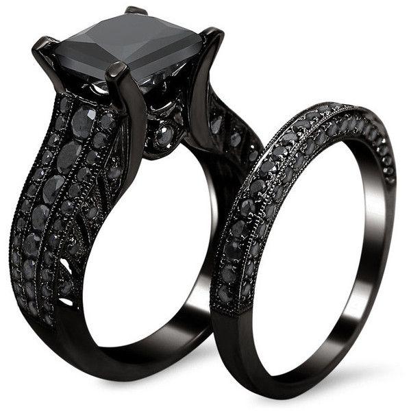 Noori 14k Gold 3.8ct TDW Certified Black Diamond Princess Cut Bridal... (£1,920) ❤ liked on Polyvore featuring jewelry, rings, gold rings, black diamond princess cut ring, 14 karat gold ring, 14k ring and engagement rings